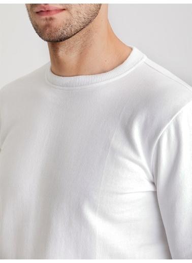 Dufy A.Grı Bısıklet Yaka Düz Erkek Sweatshırt - Slım Fıt Beyaz